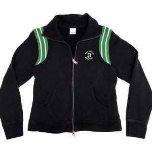 NIKE full zip sweatshirt, black, green trim sz M